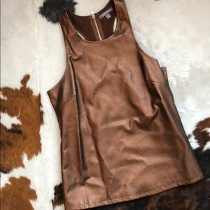 Metallic bronze faux leather racer back tank